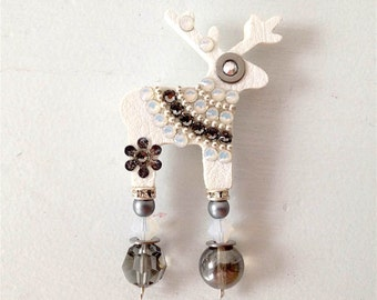 White Claire Deer Brooch With Swarowski Crystals