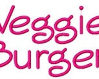 Buy 2, Get 1 Free, Veggie Burger Embroidery Font Instant Download, PES format