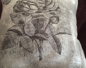 Grey rose pillow