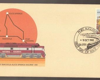 1980 Australia Tarcoola to Alice Springs Railway Train with Port Augusta Cancel PSE Commemorative Cover Ephemera