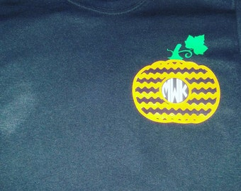 Holiday Monogramed T, Halloween, Pumpkin, Fall