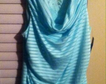 Brand New-Unused Woman's Large Sleeveless Aqua Top