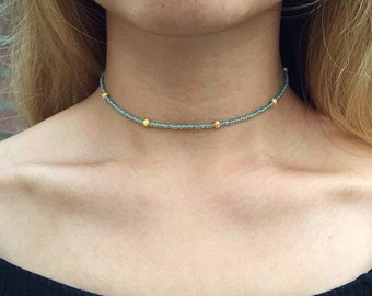 Choker Necklace | Turquoise & Gold | Beaded