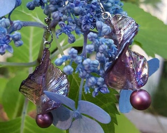 Purple dangling leaf earrings