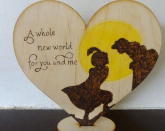 Rustic wedding cake topper Aladdin Silhouette, Unique Wedding gift, Country wedding, Personalized wood heart, Gift, Wood, PYROGRAPHY