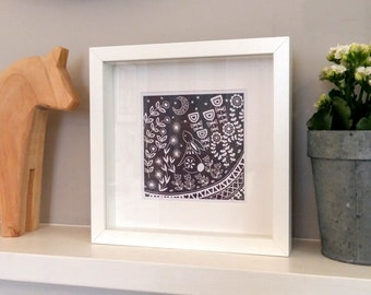 Evelyn Bunny in grey, small frame print, linocut prints