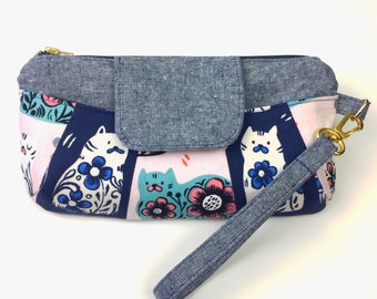 "Patchwork Cat Wristlet Clutch featuring Cotton+Steel ""From Porto with Love"" collection"