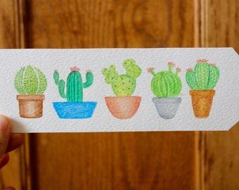 Watercolor Cacti Bookmark