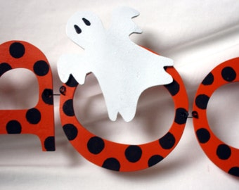 Halloween Boo with Ghost Accent - Hand-Made out of Wood