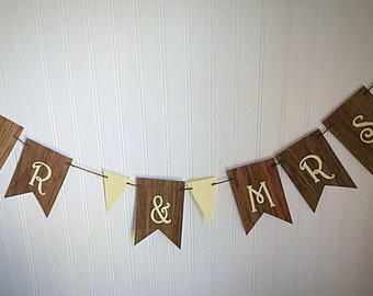 Mr. And Mrs. banner, rustic wedding decor