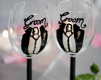Groom Hand-painted Wine Glasses