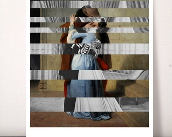 Postcard of Hayez's The Kiss & Clark Gable and Vivien Leigh