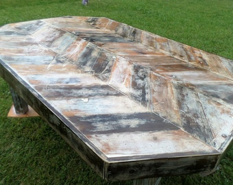 Reclaimed Wood Chevron Dining Room Table