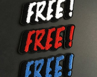 Embroidered Red White Blue Free Wording Patches Iron /Sew On Patches Appliques  Patches Cute Patches Cool Fonts Patches