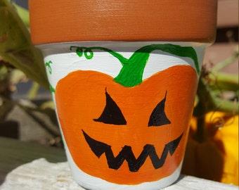 "Pumpkin Clay Pot, 2.5"" tall, Jack O Lantern, Clay Pot, Small, Hand Painted. Halloween, Painted Clay Pot."