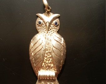 Handmade Silver Saphire Encrusted Owl Pendant