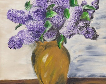 Art Print of Oil painting - Lilacs in Vase
