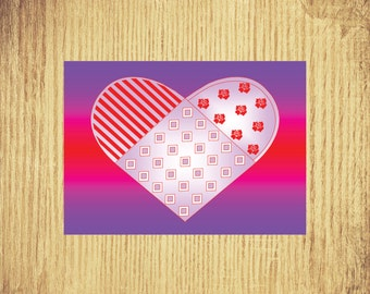 One Heart ~ Valentine Card ~ 5 by 7 ~ Digital Download Only