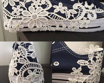 Navy Blue Converse Style Bridal Shoes Wedding Shoes Flats Lace Shoes