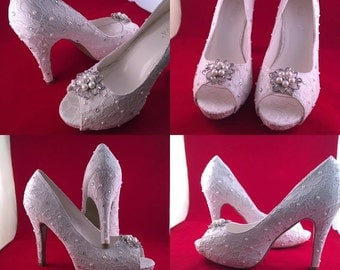 Pearl wedding shoes   Etsy
