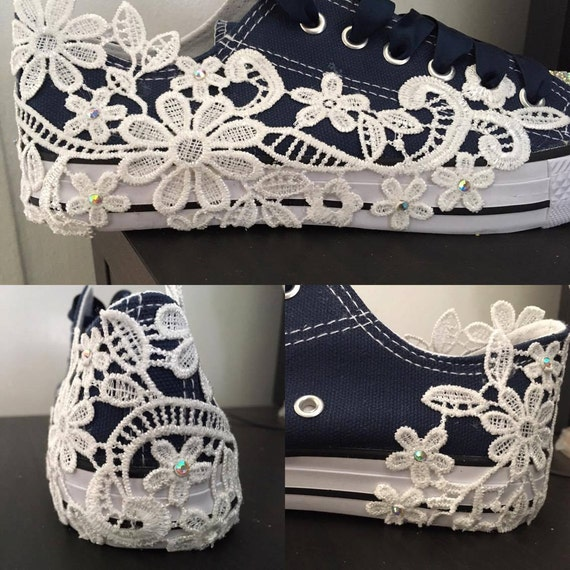 Navy Blue Converse Style Bridal Shoes Wedding Shoes Flats Lace