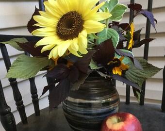 Agateware Orange, Green and Black Vase Soda Fired - Porcelain