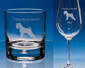 Schnauzer Dog Wine or Schnauzer Whisky Glass Personalised Gift, Schnauzer Gift, Dog Glass, Dog Lover Gift, Schnauzer Dog Gift, Schnauzer Dog