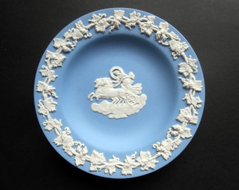 Wedgwood Blue Jasperware Dish/Plate - Horse And Chariot