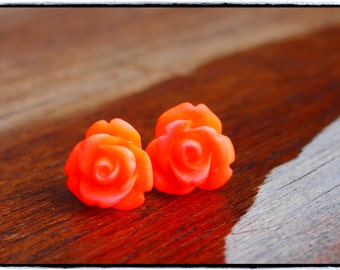 Fabulous Orange Ombre, Rose Stud Earrings.