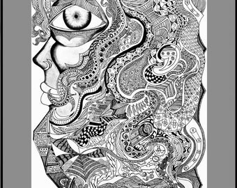 Detailed Abstract Face Drawing Print, Intricate Portrait of Woman, Black and White, Pen and ink Artwork, Doodle Face