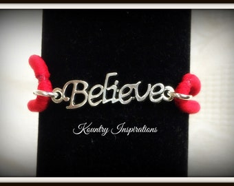 Ponytail Holder/ Hair Elastic Tie/Believe Bracelet / Pony Tail Holder/Arm Candy Hair/Bracelet / Pony Tail Holder (Ready to Ship)