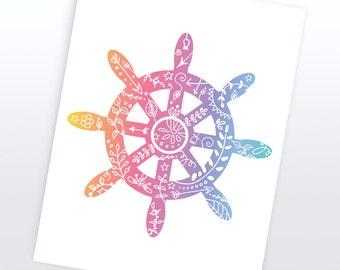 Ship Wheel Nautical Art | 4 Sizes | Printable |  Art