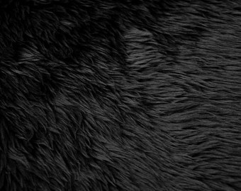 Black Pile Luxury Shag Faux Fur Fabric by the yard (Z2)