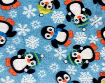 Penguins in Baby Blue Fleece Fabric by the yard