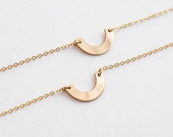 Half Circle necklace, Dainty Arc Necklace, Dainty Half Circle Necklace, Curved Necklace, Sterling Silver, Gold, Rose Gold ZN00271