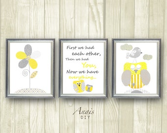 Yellow and Grey Nursery decor Owl nursery Flower Baby Nursery wall art First we had each other Quote Baby Room Decor Printable Kids Wall Art