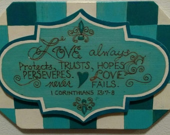 Love Scripture Magnet pyrography and paint