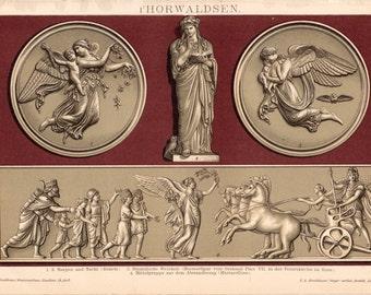 Antique Sculpture Lithograph - Vintage Sculpture Print from 1890