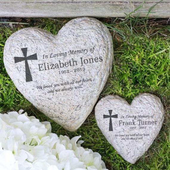 Personalized In Loving Memory Heart Shaped Garden Stone