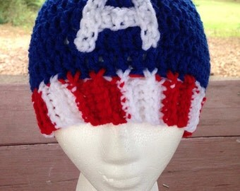 Marvel Avengers Captain America Inspired Crochet Hat - Beanie with A and Stripes - Toddler / Child / Teen / Adult - Made to Order