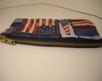 American Pocket Purse with Heavy Duty Zipper // Coin Purse or Make up Bag // Pencil Holder