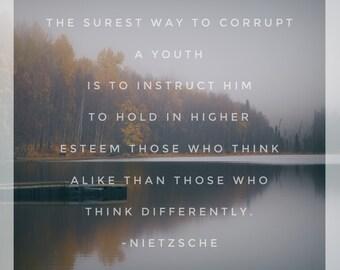 Nietzsche Print, Philosophy, Landscape, Art, Quote Print, Inspirational Print, Typography