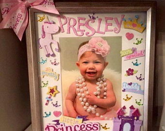 Personalized Princess Theme Picture Frame With Bow