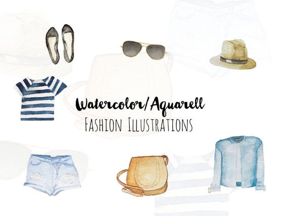 Fashion Watercolor Illustrations Clipart, Hand painted images, Watercolor kit, Fashion clothes and accessoires, printable, Scrapbook