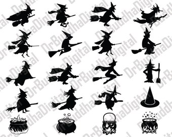 Halloween Witch SVG Collection - Halloween Witches DXF - Halloween Witch Clipart - Svg Files for Silhouette Cameo or Cricut