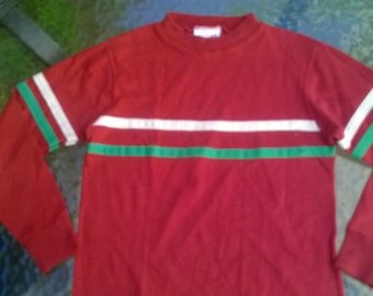 1980s Billy The Kid brand child's shirt in maroon with white and green stripe