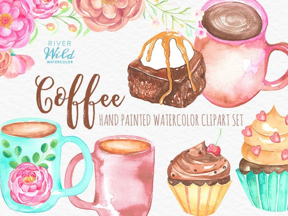 Coffee clipart set watercolor coffee clipart set commercial for Coffee watercolor