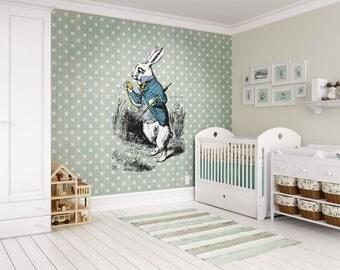 Alice In Wonderland White Rabbit Wall Mural