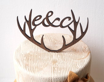 Personalized antlers cake topper, wedding cake topper, deer antlers topper, rustic wooden cake topper, initials woodland wedding decoration