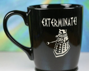 FREE SHIPPING Personalized Exterminate Dalek Doctor Who Inspired coffee mug